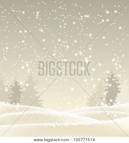 abstract winter background in sepia tone, illustration