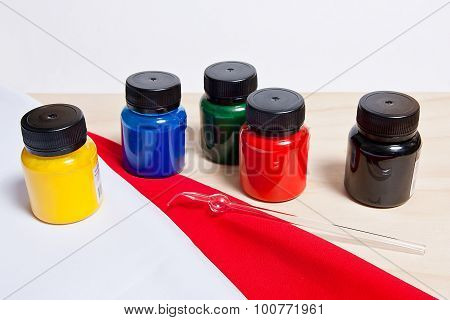 Batik Equipment: Artist Paints And Glass Tube.