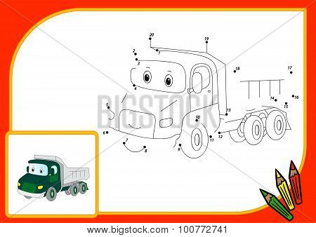 Funny Cartoon Lorry. Connect Dots And Get Image. Educational Game For Kids