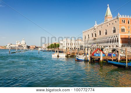 Gondolas  and Doge palace, Venice, Italy