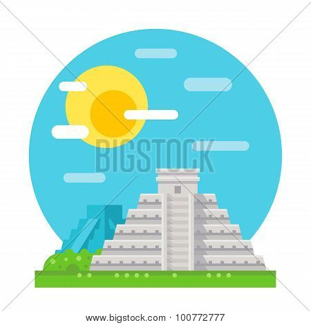 Chichen Itza Flat Design Landmark