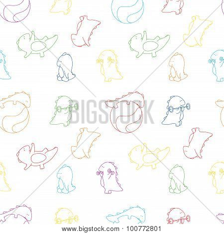 Seamless Texture With Dragon Doing Gymnastic Exercises And Yoga Asanas. Vector Background