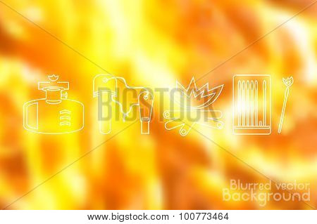 Fire icons set on flame fire background. Blurred vector illustration.