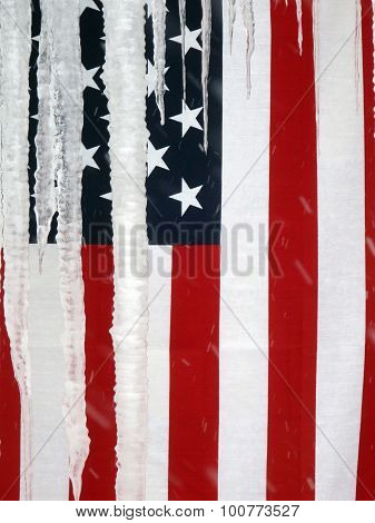 Usa Flag Hanging Behind Icicles