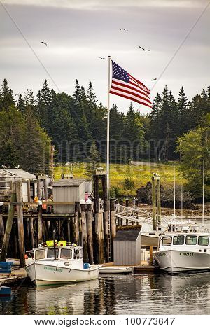 Fishing Pier And American Flag