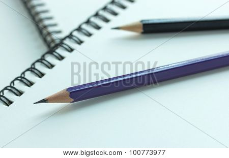 Pencil And Spiral Notebook, Selective Focus Point