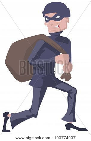 Robber in a mask carries bag. Man robber