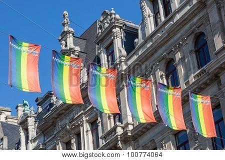 Gay Pride Rainbow Flags In Antwerp, Belgium