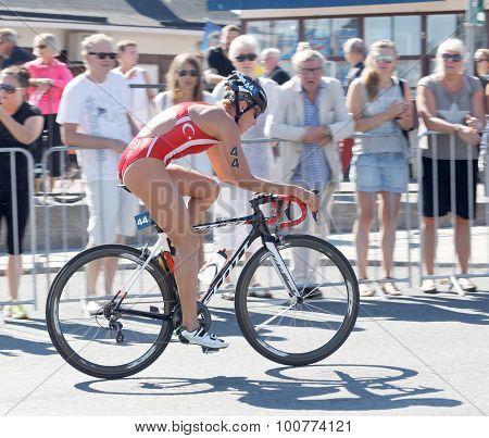 Triathlete Gaia Peron Cycling, Side View