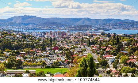 Aerial view of Hobart City. Tasmanian Island. Australia