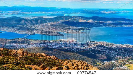 Aerial panoramic view of Hobart City. Tasmanian Island, Australia