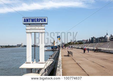 Waterfront Promenade In Antwerp, Belgium