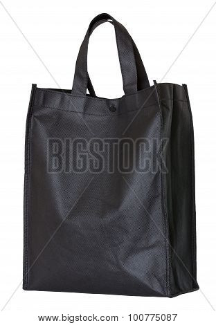 Black Reusable Shopping Bag Isolated On White
