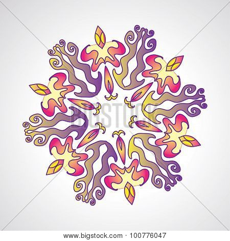 Circle colorful kazakh style ornament, round ornamental pattern for your designe
