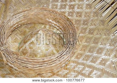 Close up hat Bamboo weave sheets for weaving
