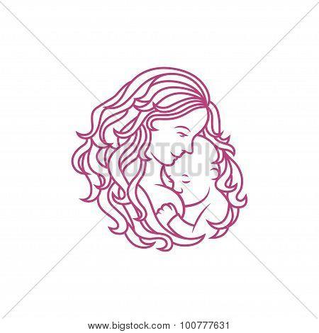 Breastfeeding sign. Logo in line-art style.