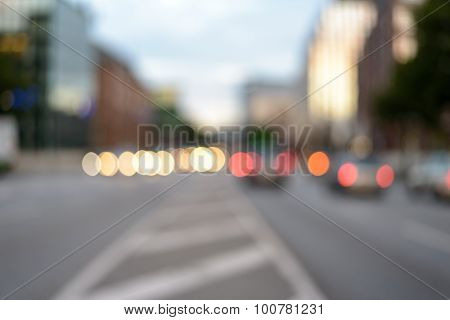 Hazy Yellow And Red City Lights For Background
