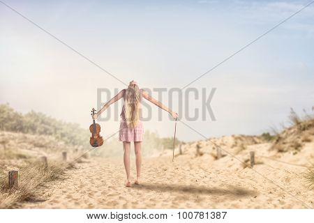Woman With Violin Spreading Her Arms