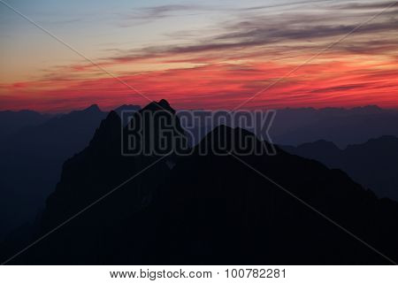 Colorful Sky Over High Mountains In The Swiss Alps