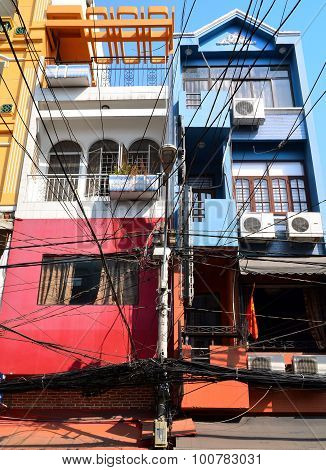 Saigon, Vietnam - March 8, 2015: The Streets Of Saigon (ho Chi Min City) Full Of Wires.