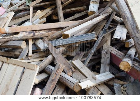 Pile Of Old And Dirty Lumber
