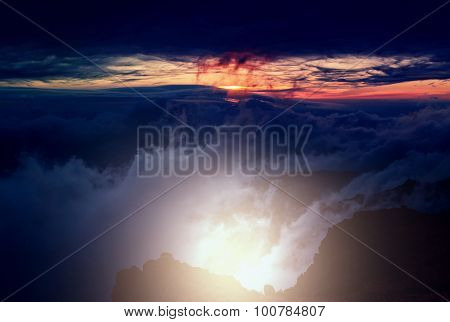 Beautiful sunset cloud and hill above