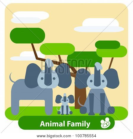 Family of elephants, tree, background, clouds.