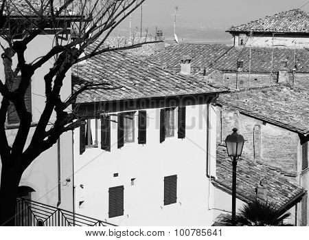 Italy. Tuscany Region. Montepulciano Town. In Black And White Toned. Retro Style