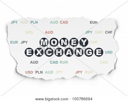 Currency concept: Money Exchange on Torn Paper background