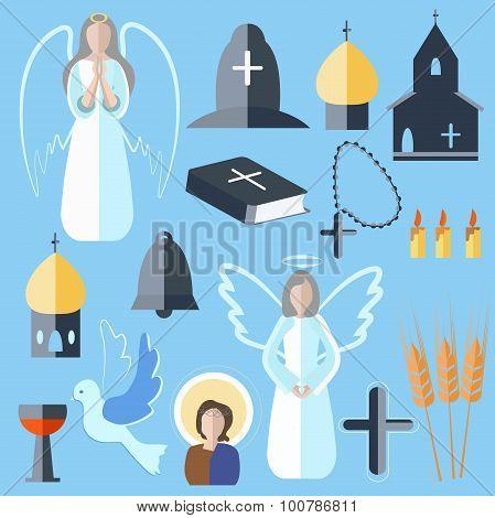 Set theme religion angel, bell, church, dove