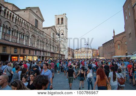 Visitors To Buskers Festival 2015 In Ferrara