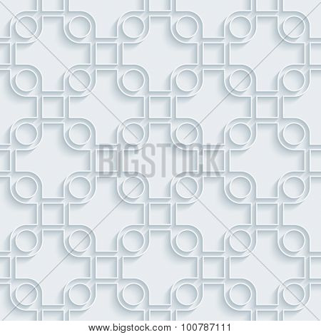 White paper with outline extrude effect. Abstract 3d seamless background.
