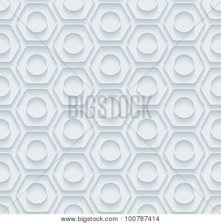 Nuts. White paper with outline extrude effect. Abstract 3d seamless background.