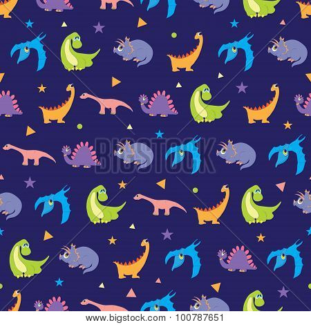 Vector Colorful Dinosaurs Rows Seamless Pattern. Vibrant Stegosaurus, Cute Pterodactyl, Purple Trice