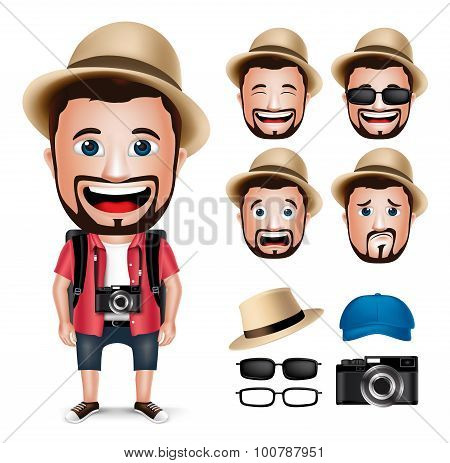 3D Realistic Tourist Man Character Wearing Casual Dress with Camera