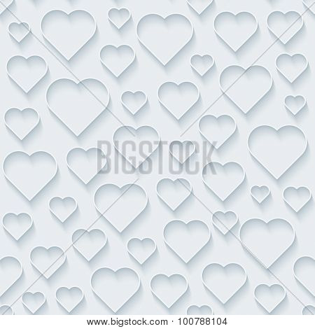 Hearts. White paper with outline extrude effect. Abstract 3d seamless background.