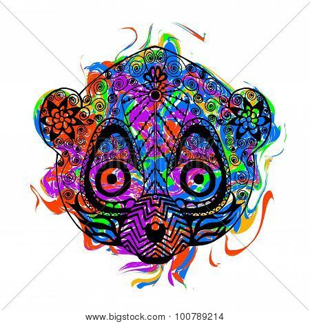 Zentangle stylized lemur with abstract colorful grunge background
