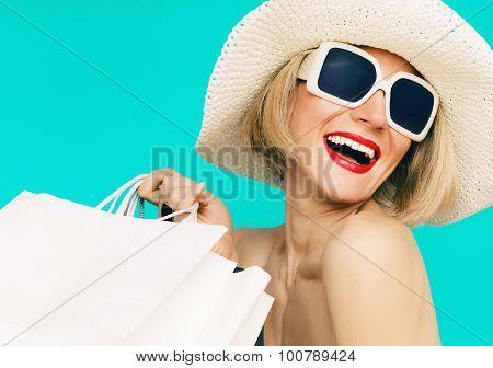 Happy Shopping Summer Lady On Blue Background
