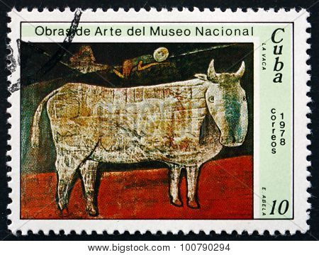 Postage Stamp Cuba 1978 The Cow, By Eduardo Abela