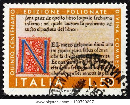Postage Stamp Italy 1972 Page From Divine Comedy