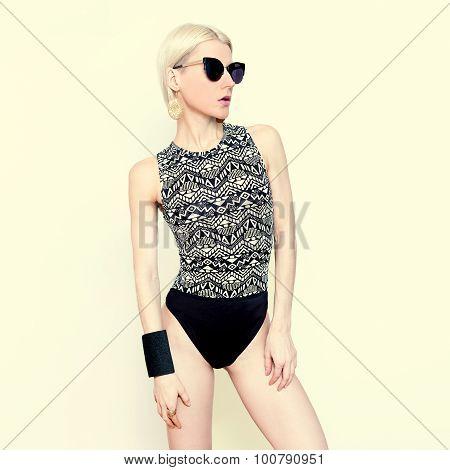 Beautiful Girl In Fashionable Swimsuit. Trend Geometric Prints