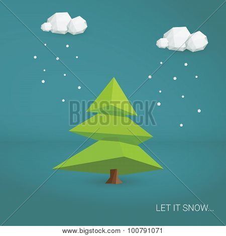 Christmas card vector template. Low poly 3d tree and clouds snowing.