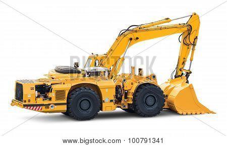 Big heavy excavator isolated on white background
