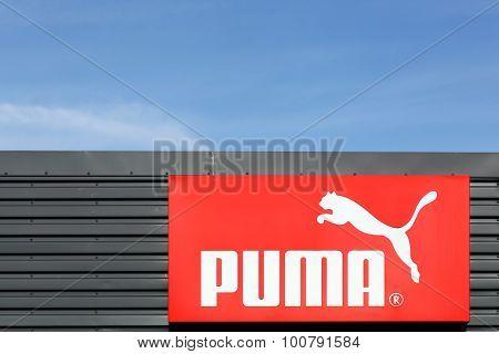 Puma logo on a facade