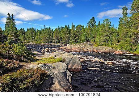 Threshold Morskoj On River Pongoma, Northern Karelia, Russia