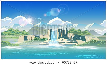 Waterfall And Highlands