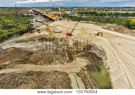 Bird eye view on road and bridge construction