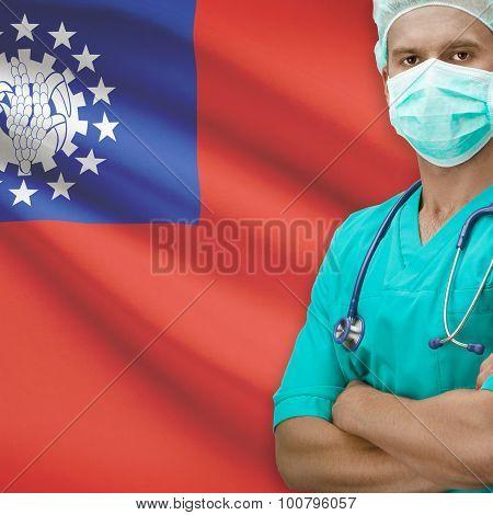 Surgeon With Flag On Background Series - Burma
