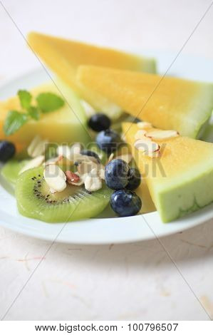 Fruit Salad With Blueberries And Melon