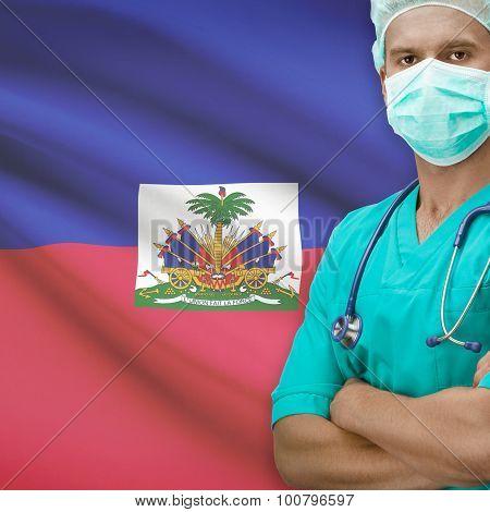 Surgeon With Flag On Background Series - Haiti